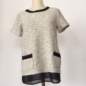 NWT Blk/White Tweed Chain Boxy Top